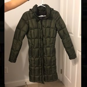 Army Green North face full length puffer coat